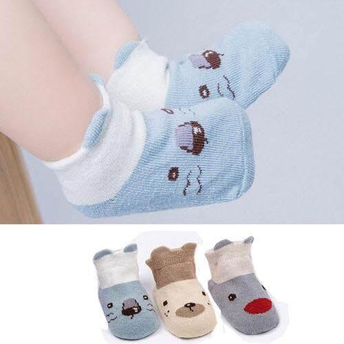 ถุงเท้าเด็ก แรกเกิด-4ขวบ เซ็ต 3 คู่ 3 ลาย ลายหน้าสัตว์ มีหู สีฟ้า ไซด์ S M 0520 By Tk Supplies.
