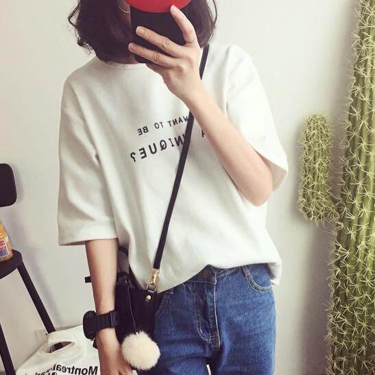 Fashion เสื้อยืดผู้หญิงแขนสั้น แฟชั่นแนวอินดี้ น่ารัก (สีขาว) รุ่น 314.
