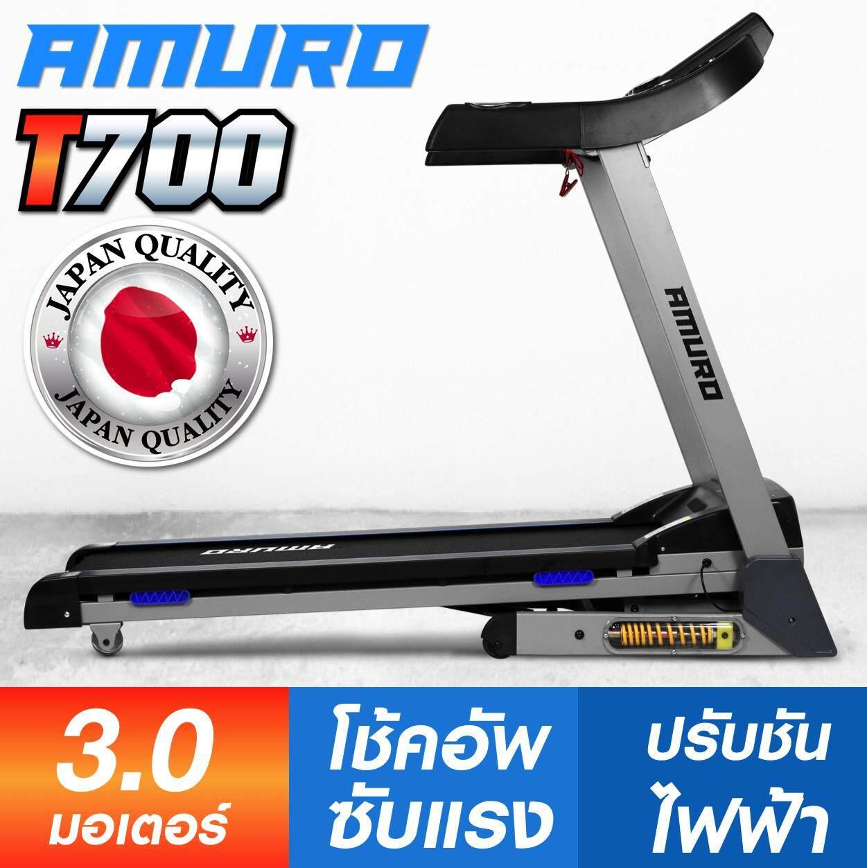 ลดสุดๆ AMURO ลู่วิ่งไฟฟ้า 3.0 แรงม้า T700 SMART Treadmill ระบบโช็คอัพ ลดแรงกระแทก เชื่อมต่อ BLUETOOTH ปรับความชั่นด้วยไฟฟ้า AUTO Incline พับเก็บได้ รุ่น T700