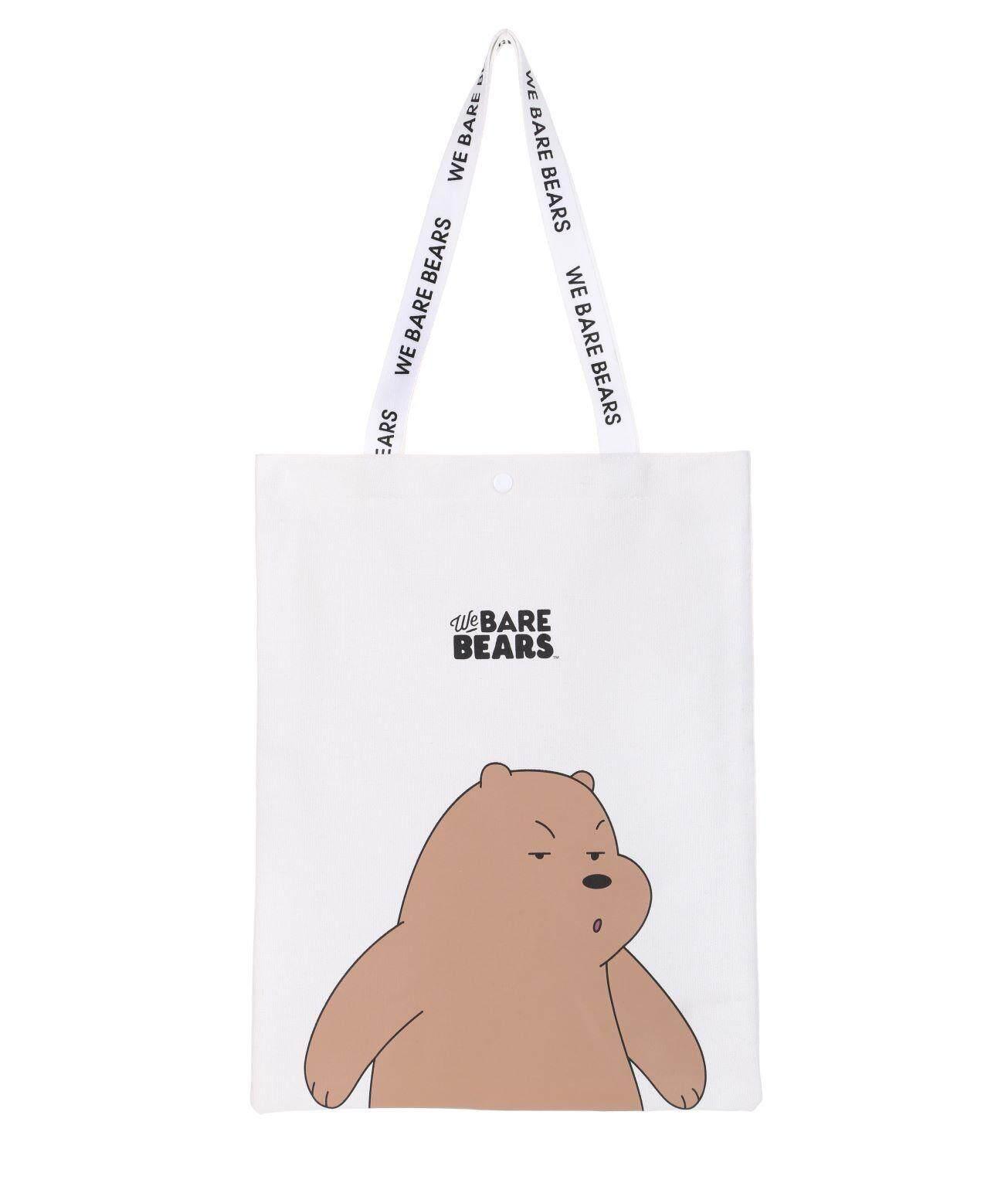 กระเป๋าถือ นักเรียน ผู้หญิง วัยรุ่น อำนาจเจริญ MINISO ถุงผ้า WE BARE BEARS 3 หมีจอมยุ่ง
