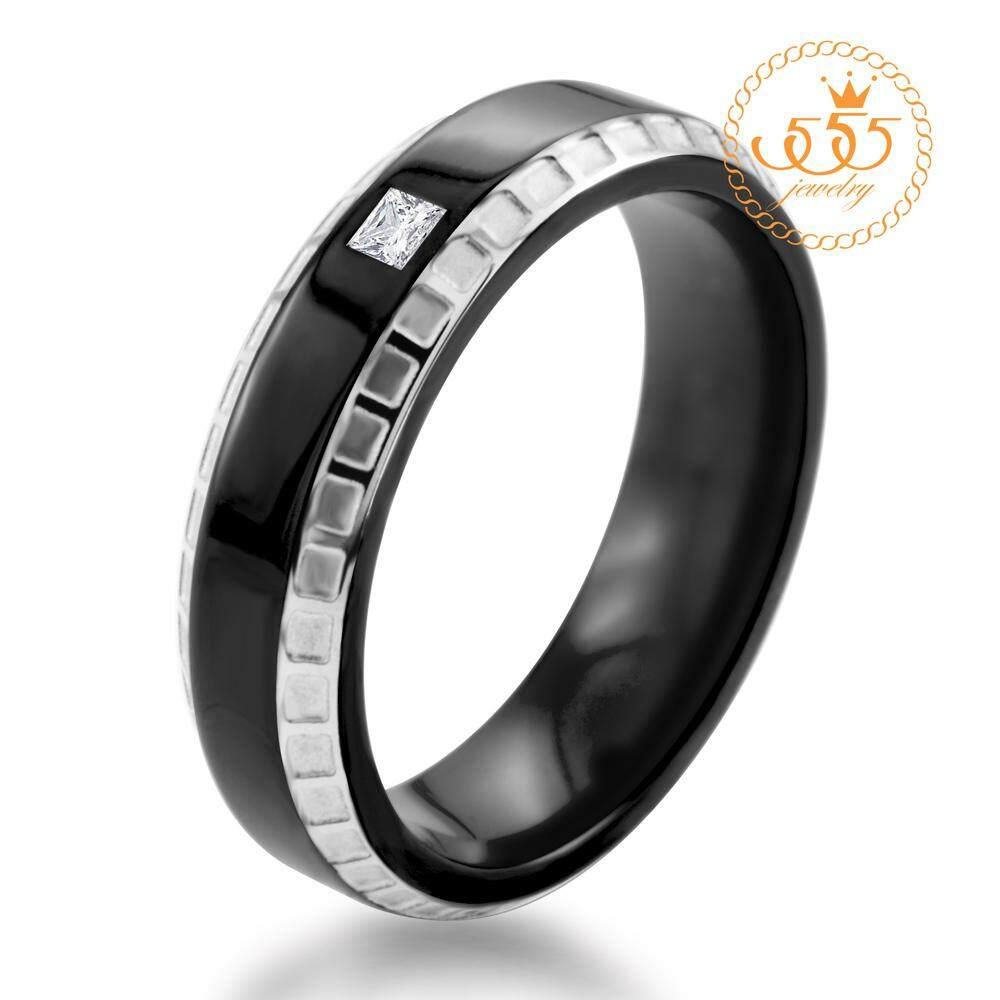 555jewelry แหวน รุ่น MNR-020T-B (Black)