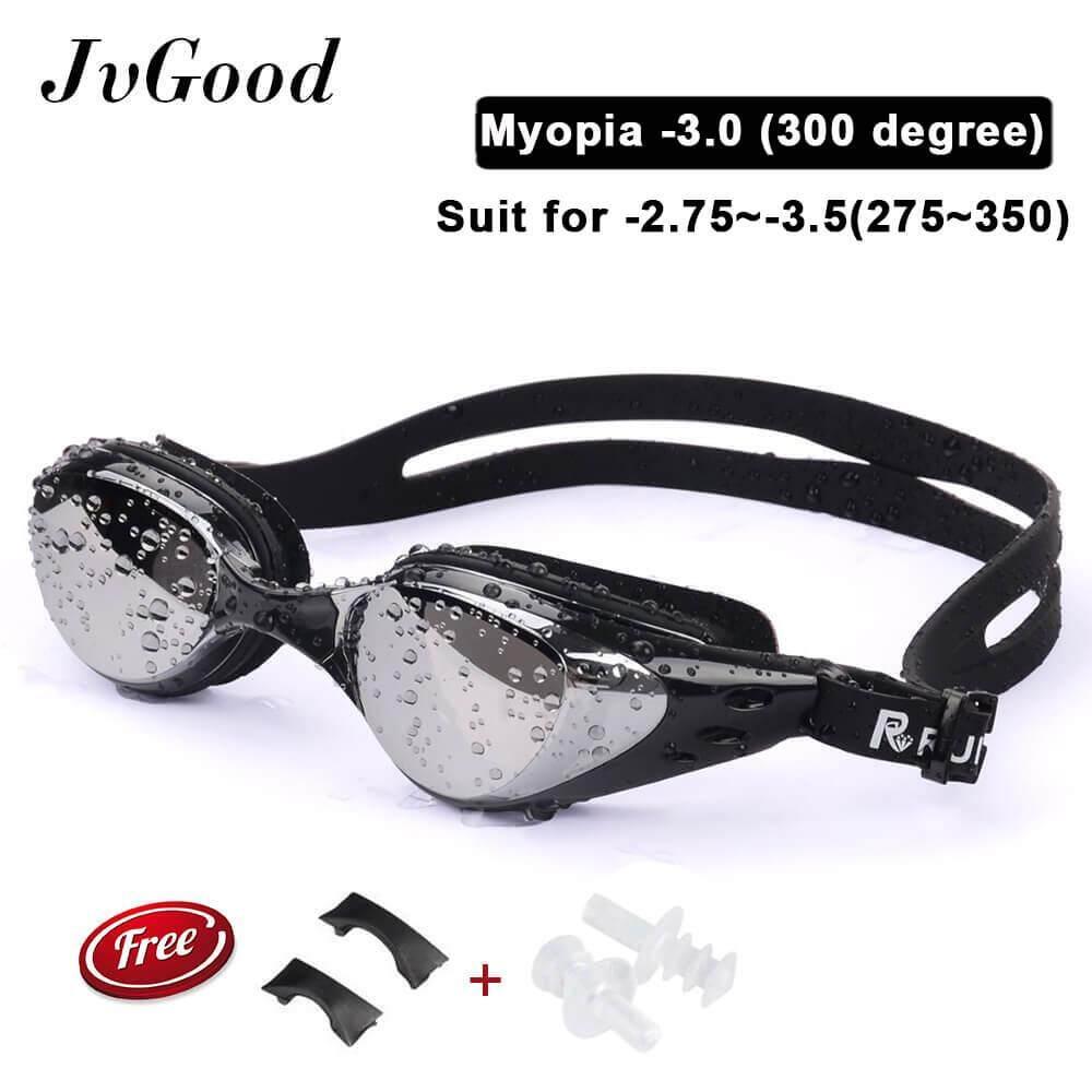 แว่นตาว่ายน้ำสำหรับคนสายตาสั้นยี่ห้อ Jvgood (-200 ~ - 500) สำหรับว่ายน้ำเล่น แข่งว่ายน้ำ แข่งไตรกีฬา ป้องกันการรั่วซึม ป้องกันฝ้า ป้องกัน Uv สำหรับผู้ใหญ่ ชายหญิง เด็กเล็กเด็กโต