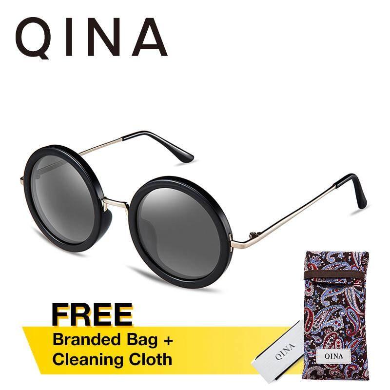 ส่วนลด Qina แว่นกันแดดโพลาไรซ์สำหรับผู้หญิง กรอบทรงกลมสีดำขาแว่นโลหะ เลนส์ป้องกันรังสี Uv400 สีดำ Qn3506 Qina ใน ฮ่องกง