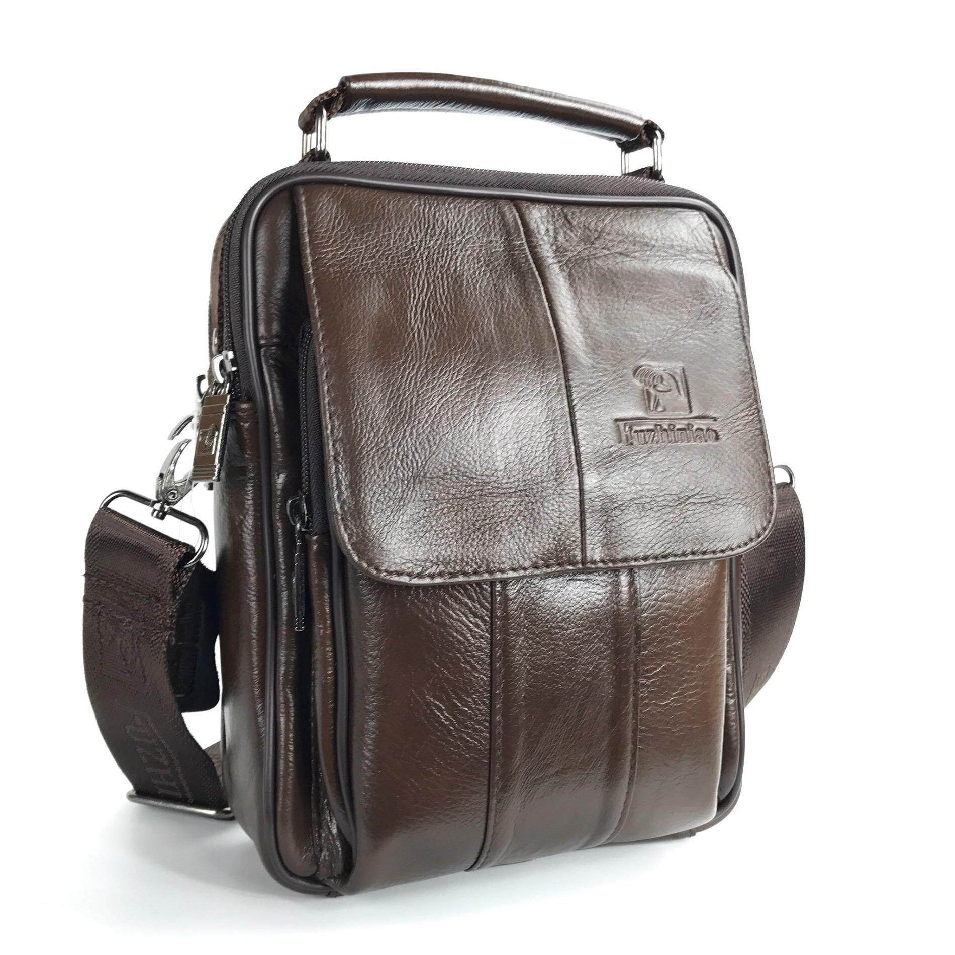Chinatown Leather กระเป๋าสะพายหนังแท้ ขนาดIpad Mini สีน้ำตาล ใน กรุงเทพมหานคร