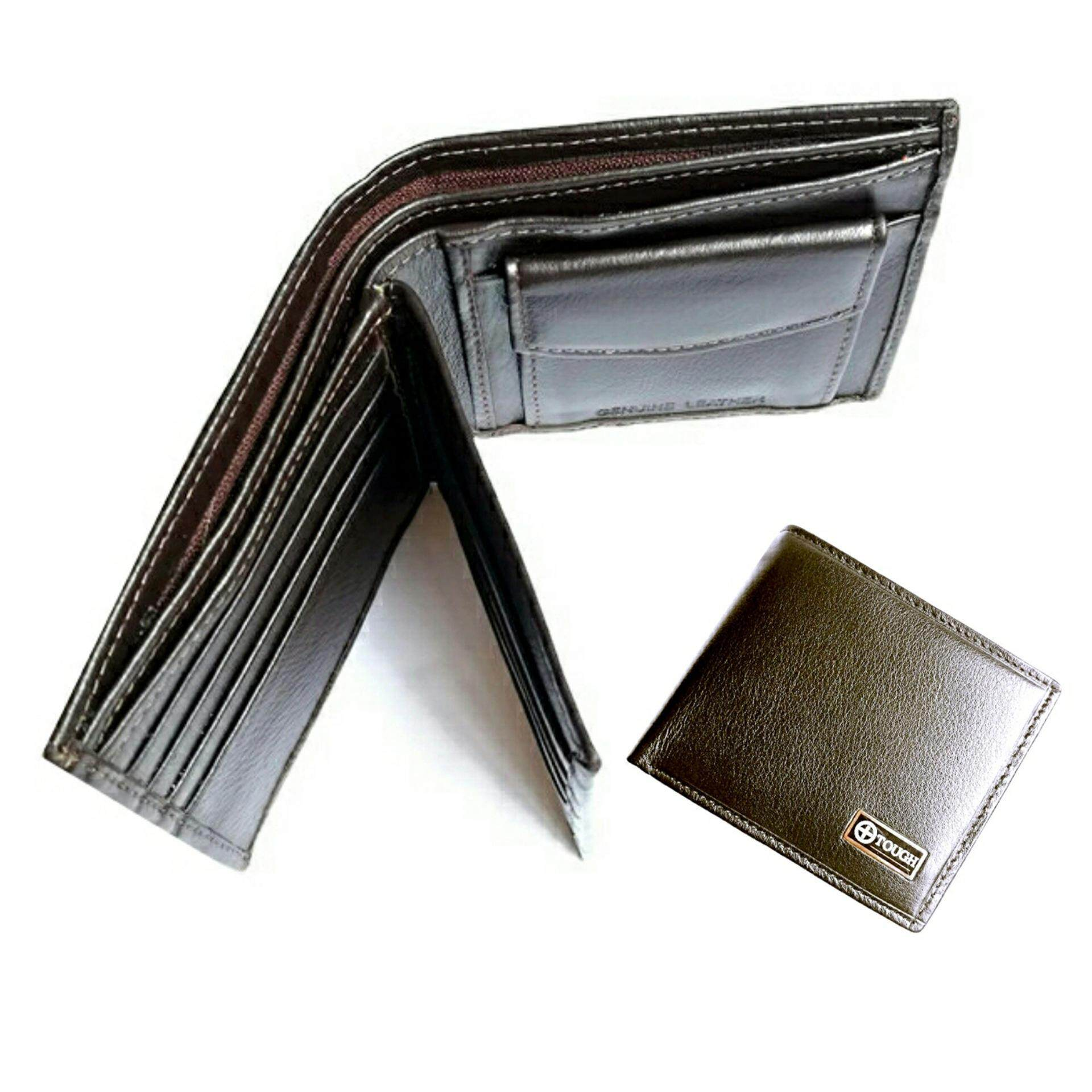 Tough กระเป๋าสตางค์ หนังแท้หนังนิ่ม มีกระเป๋าเล็กใส่เหรียญ รุ่นTou002 D สีน้ำตาลพร้อมกล่อง ถูก