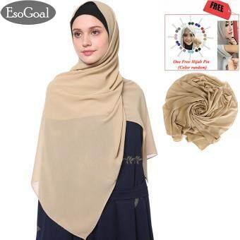 การตรวจสอบของ EsoGoal ฮิญาบแฟชั่น ผ้าพันคอผ้าโพกหัวหมวก Women's Modest Muslim Hijab Islamic Soft Solid Chiffon Hijab Cap Long Scarf Head Shawl with Hijab ...