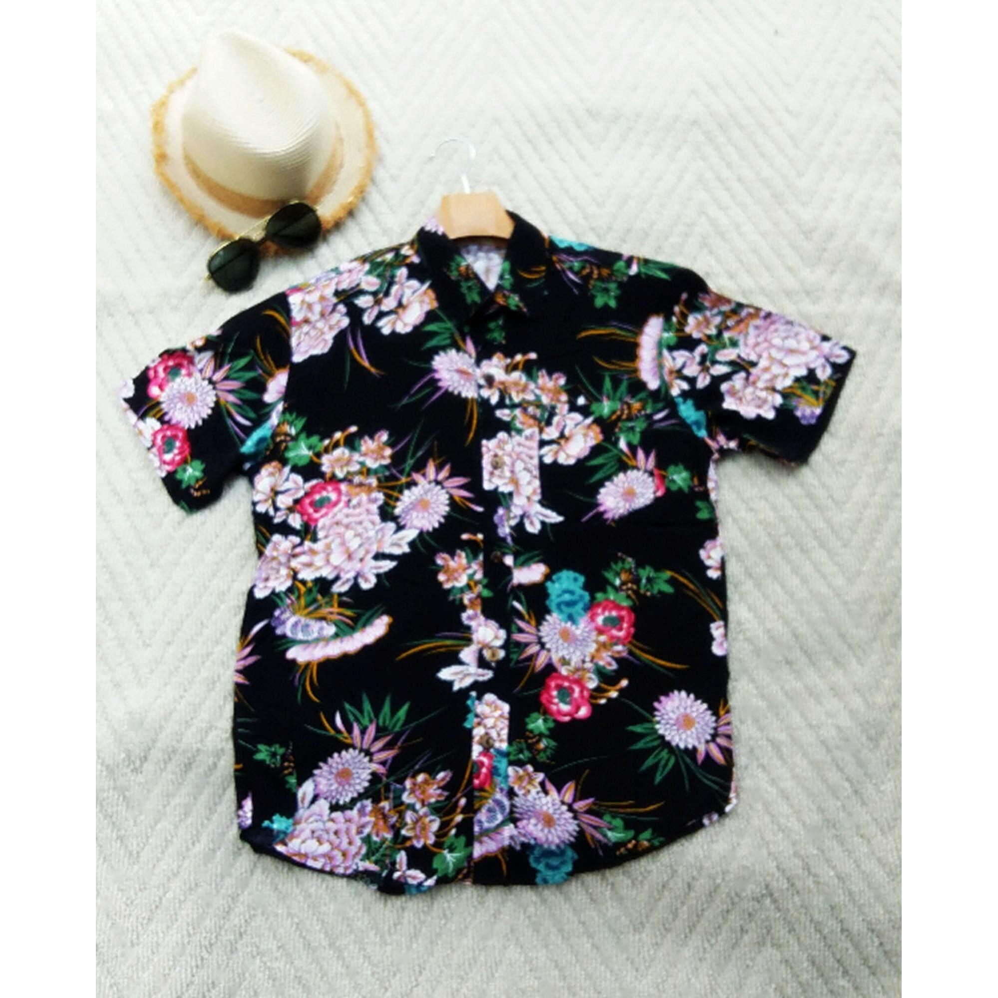 ซื้อ Mama Shop เสื้อเซิ้ตฮาวาย พิมพ์ลายดอกสีชมพูขาว พื้นดำ คอปก ไซส์ M ผ้านิ่มใส่สบาย รุ่น Mb 071 ออนไลน์ Thailand