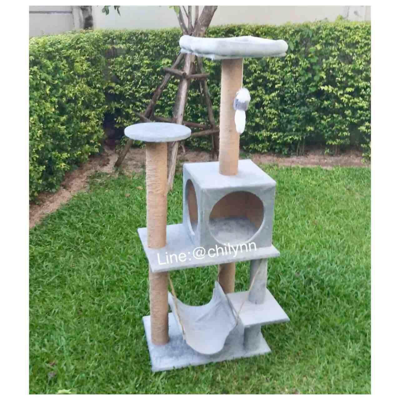 คอนโดแมว สำหรับแมวอ้วน แมวโต สีเบจกดสั่งได้เลย (สีเบจ=สีครีม) สีเทาหมดนะครับ By Chilynnbkk.