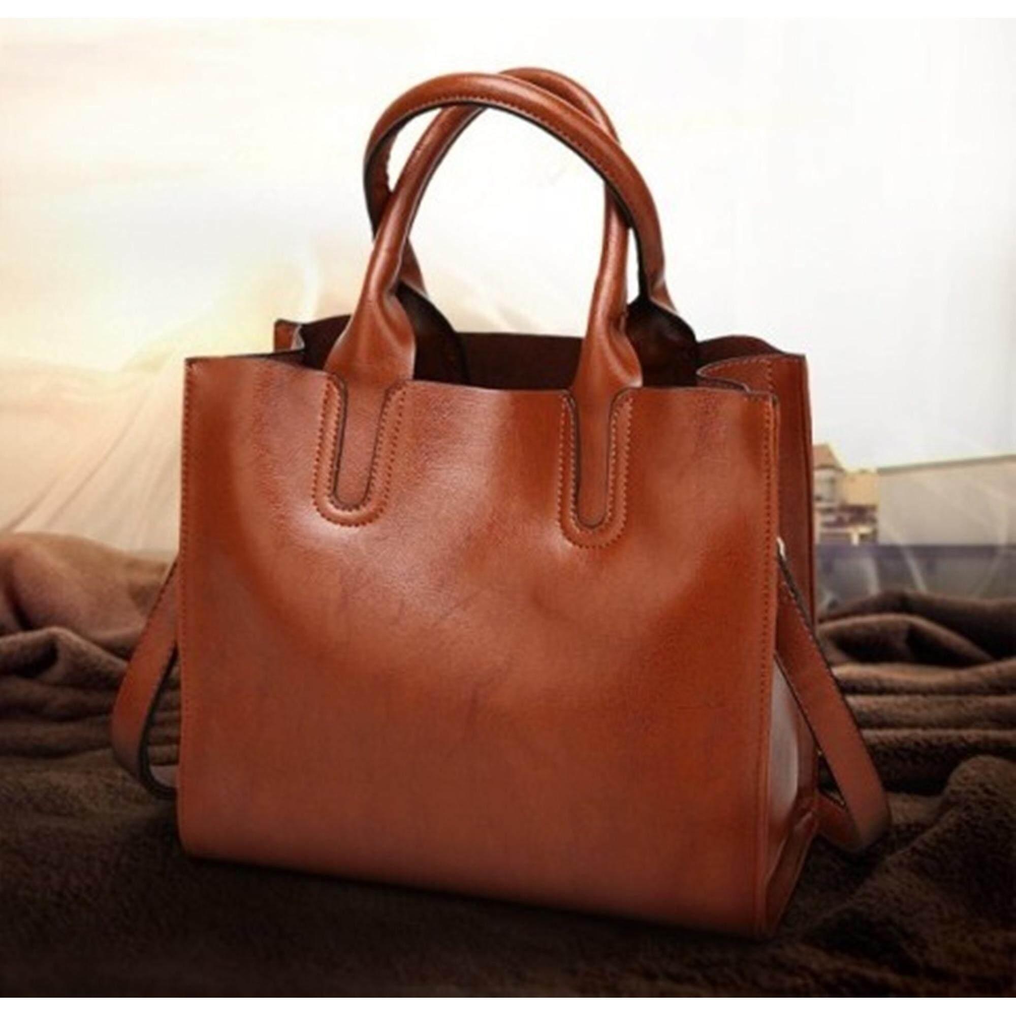 โปรโมชั่น K B Shop กระเป๋าหนังแท้ แบบสายถือและสายสะพาย หนังนิ่ม งานดี สวยมาก รุ่น Aim 307Br สีน้ำตาล