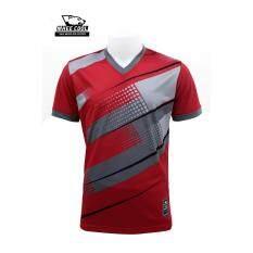 Mheecool เสื้อคอวีพิมพ์ลาย สีแดง