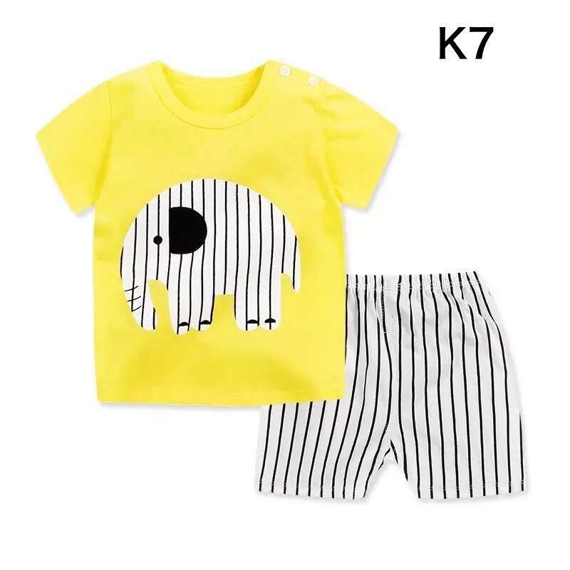 ❤️sale! Baby ชุดนอน เซต 2 ชิ้น เสื้อ+กางเกงขาสั้น ใส่สบายเนื้อผ้า Cotton ไซส์ 80-110cm / 9เดือน- 4ปี