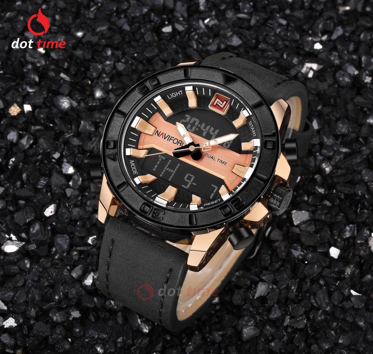 รับประกันศูนย์ไทย - Naviforce นาฬิกาข้อมือ ผู้ชาย แฟชั่น สปอร์ต  'NVF122BLG' Professional Waterproof ลดราคา ราคาถูก dot time