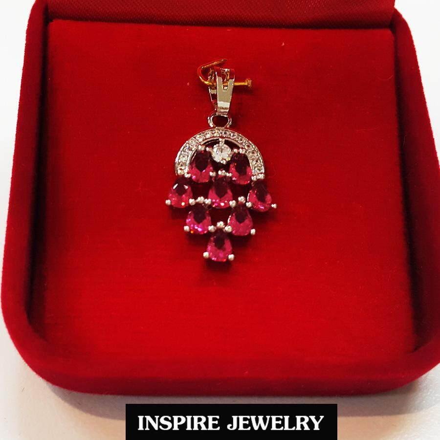 Inspire Jewelry จี้คริสตัลพลอยทับทิมสยาม มีเพชรข้าง งานจิวเวลลี่ ฝังเพชรcz เพชรพลอยสวย Size 2x1.5cm  งานดีไซด์ งานแบบร้านเพชร พร้อมกล่องกำมะหยี่สวยหรู.