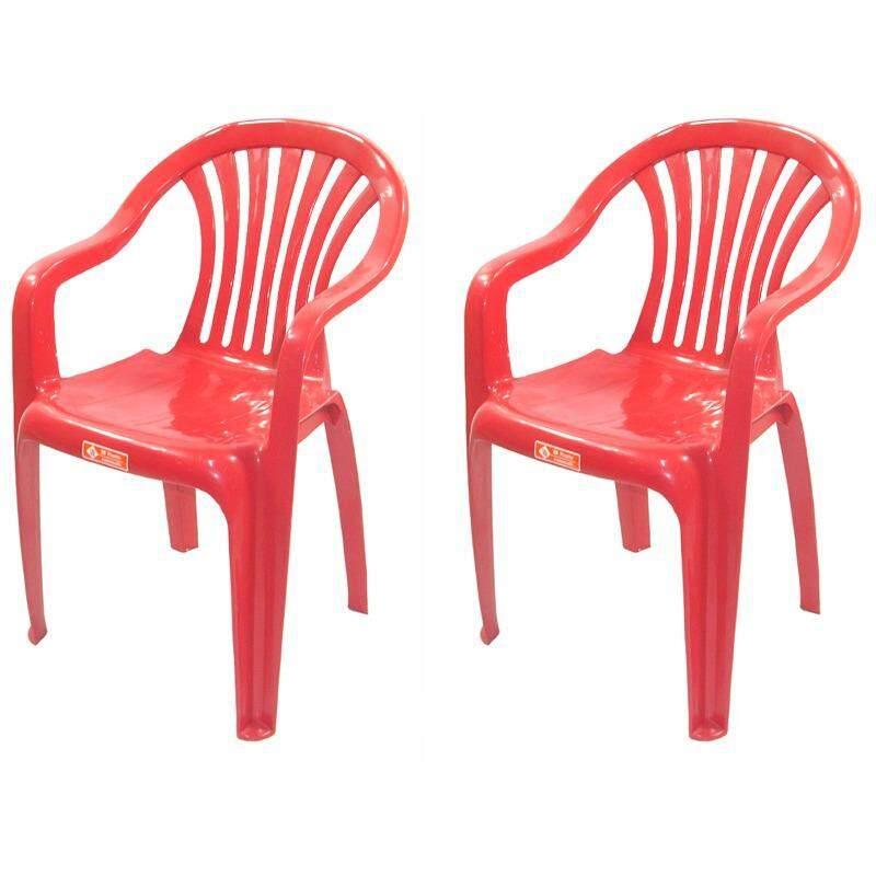 เช่าเก้าอี้ เชียงใหม่ เก้าอี้สนาม มีพนักพิง และ ที่เท้าแขน รุ่น 999 สีแดง แพ็ค2ตัว