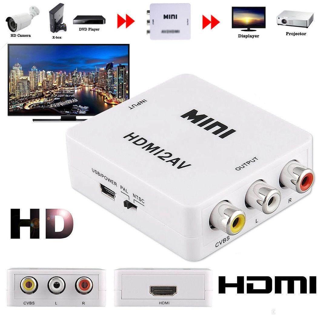 Mini HD 1080P HDMI 2AV Video Converter Box HDMI to RCA AV/CVSB L/R Video Support NTSC PAL Output HDMI TO AV Adapter
