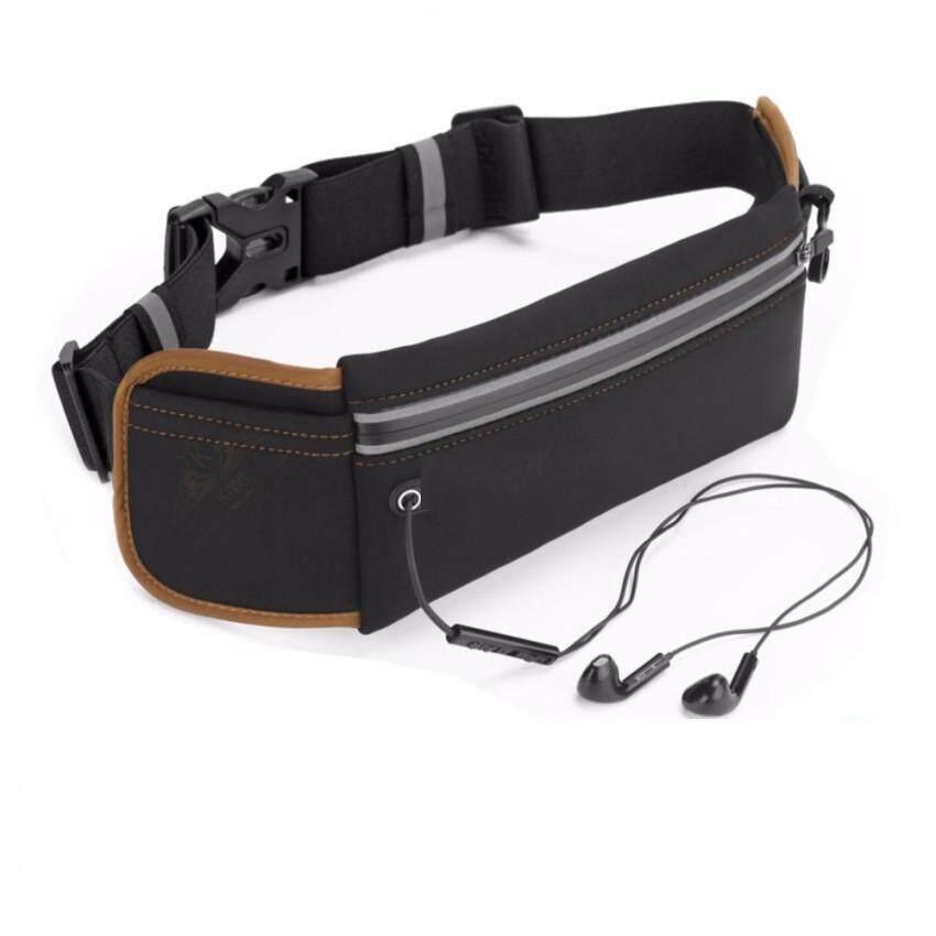กระเป๋าคาดเอว ออกกำลังกาย กระเป๋ากีฬา มีรูสายหูฟัง กันน้ำ สีดำ By Coolshop.