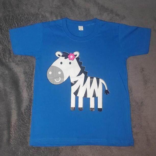 เสื้อยืดเด็ก ผ้าCotton 100% สกีนลายหน้าหลังรูปม้าลาย สีน้ำเงิน