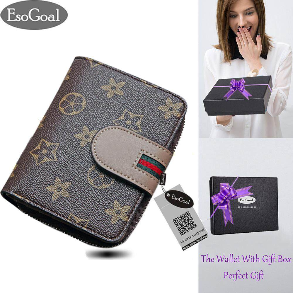 ซื้อ Esogoal Women Leather Credit Card Wallet Holder Mini Purse Zip Trifold Clutch Pocket Wallet For Valentine S Day Present Box ใน จีน