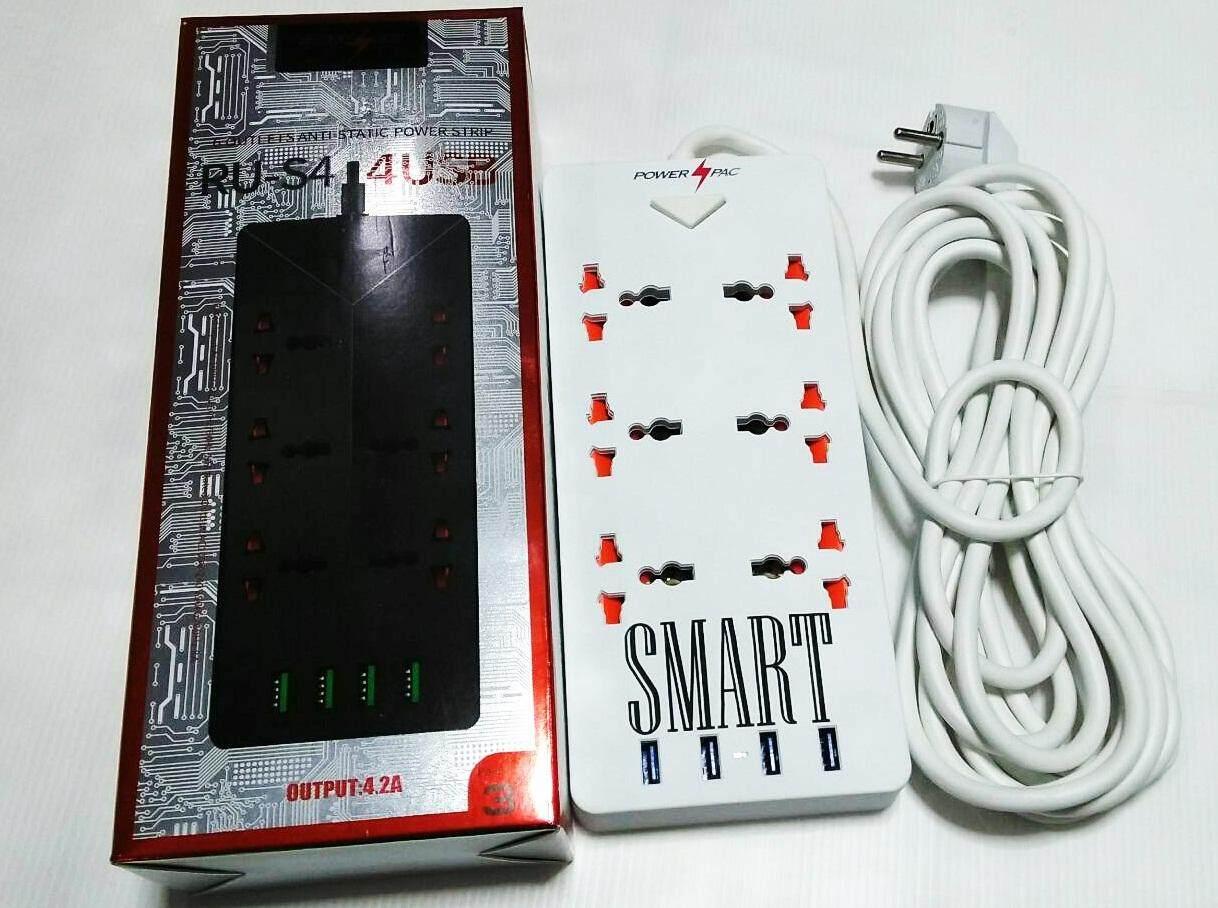ปลั๊กไฟจำนวน 6 ช่อง และ Usb จำนวน 4 พอร์ต สายไฟยาว 3 เมตร Smart Ru-S4 Aliens 6 Ports 5 Usb Charger White By Ice Shop.