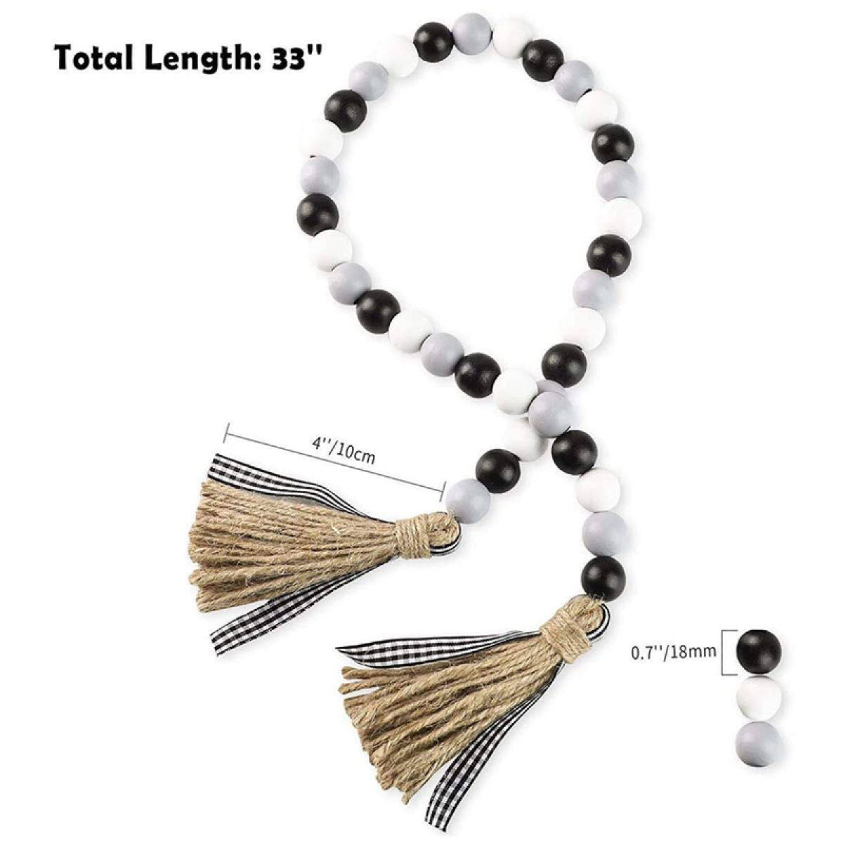 Wood Bead Garland With Tassels Tiered Tray Christmas Decorations Black White And Gray Wooden Bead With Jute Rope Lazada