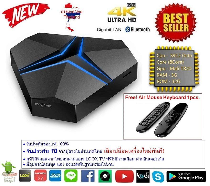 ทำบัตรเครดิตออนไลน์  แพร่ Android Smart TV Box Magicsee Iron+ plus Octa Core Cpu S912 RAM 3G ROM 32G UHD 4K Android Nougat 7.1.2 แถมฟรี Air Mouse Keyboard รุ่น C120