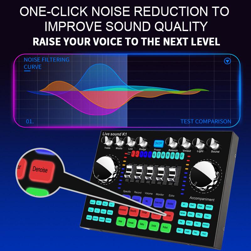 Fauge K1 Computer Phone Voice Changer HiFi Live Sound Card Mixer Board Streaming Audio 5.0 Universal