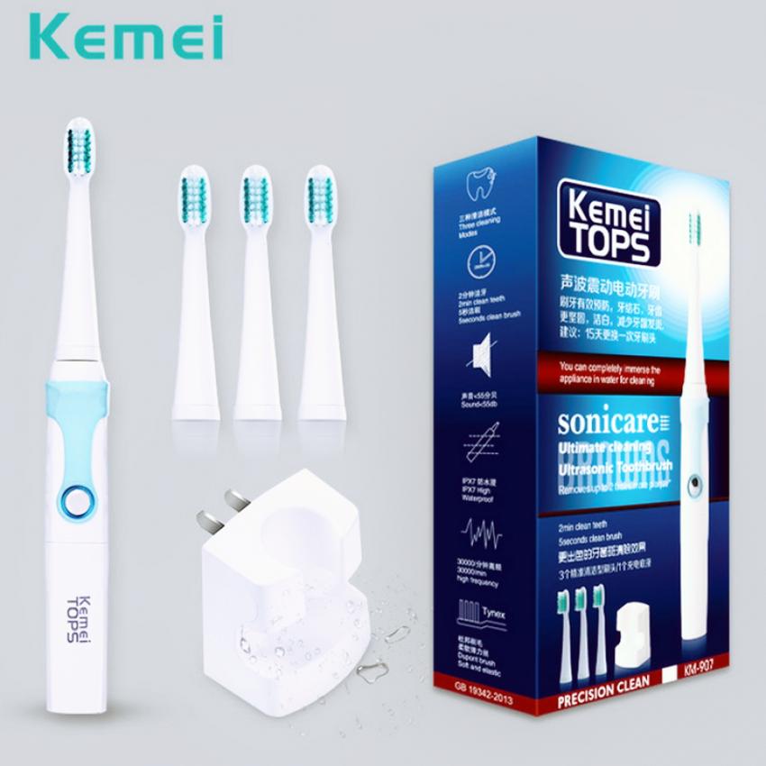 กำแพงเพชร Beauty Kemei rechargeable ultrasonic waterproof electric toothbrush แปรงสีฟันไฟฟ้าอุลตร้าโซนิค รุ่น KM 907