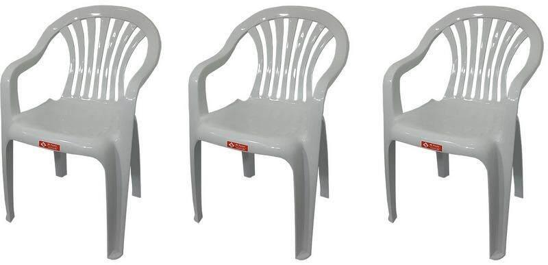 เช่าเก้าอี้ โคราช เก้าอี้สนาม มีพนักพิง และ ที่เท้าแขน รุ่น 999 สีขาวอมเทา แพ็ค3ตัว