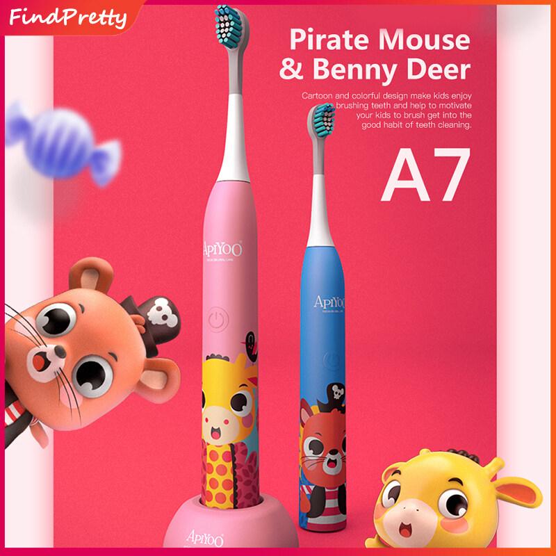 แปรงสีฟันไฟฟ้า ทำความสะอาดทุกซี่ฟันอย่างหมดจด อุทัยธานี FindPretty แปรงสีฟันไฟฟ้าสำหรับเด็กแปรงขนนุ่มกันน้ำ มีหลากหลายโหมด วัสดุนำเข้าที่ไม่เป็นอันตรายต่อการใช้งาน Apiyoo Sonic Cartoon Electric Toothbrush 3 Modes Timer Waterproof Adjustable Vibration Toothbrush for Kids