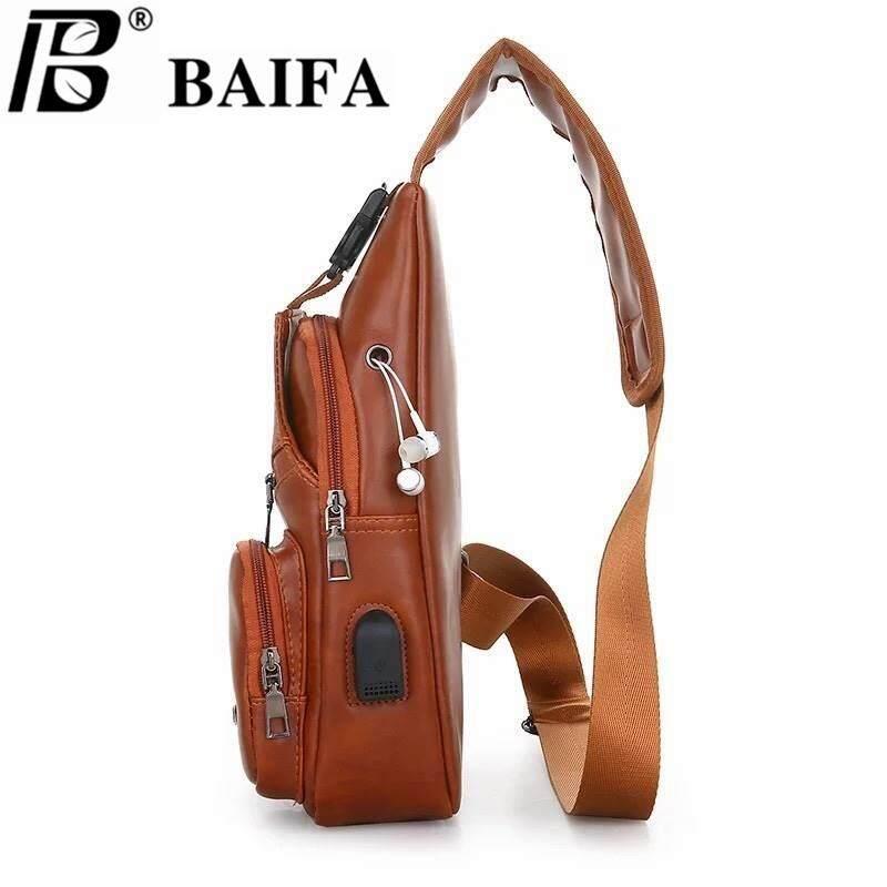 ขอนแก่น BAIFA SHOP B78 B กระเป๋าสะพายไหล่ กระเป๋าคาดอก แบบหนัง สไตล์เกาหลี มีช่องเสียบชาร์ทโทรศัพท์