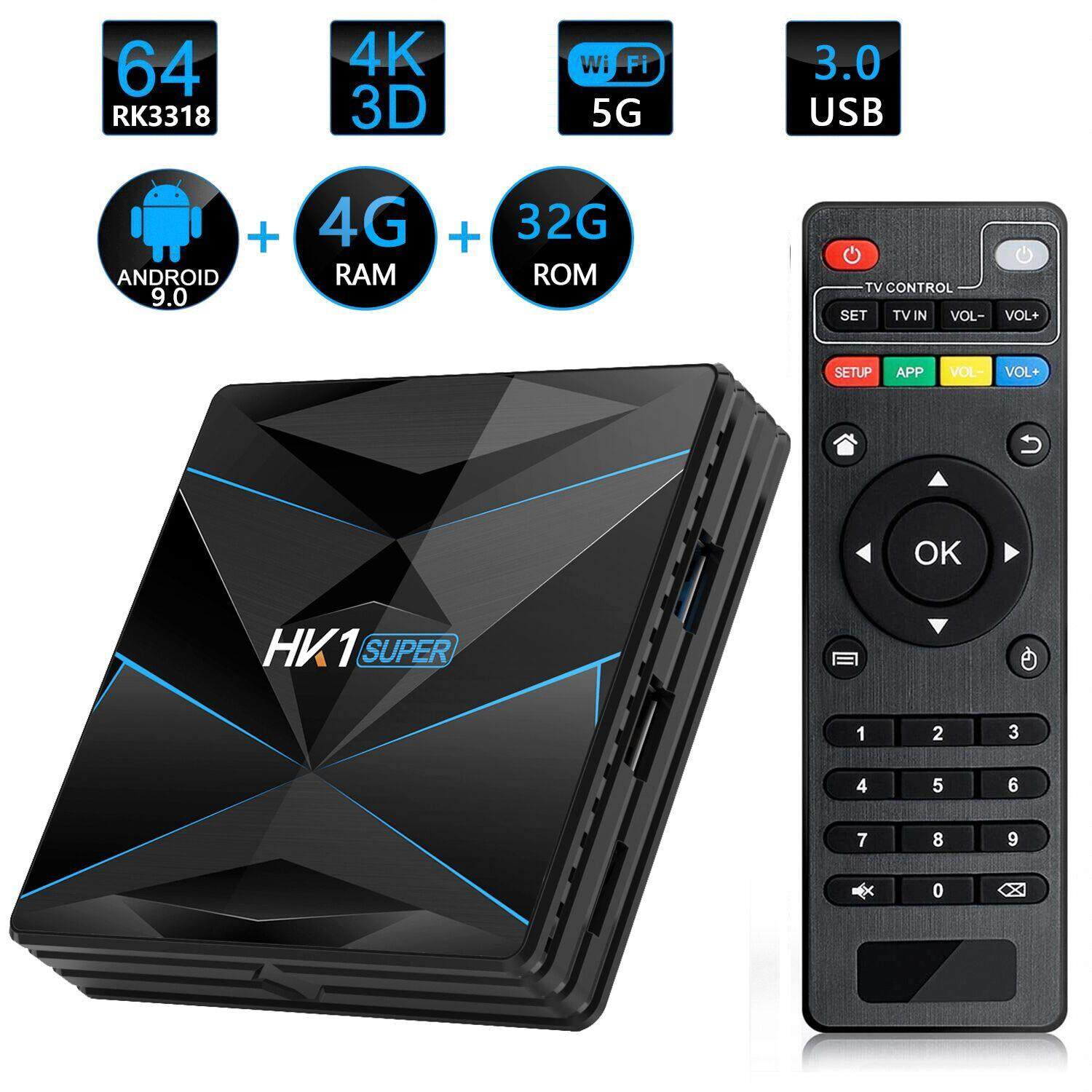 ยี่ห้อไหนดี  ปัตตานี 【HK1 Super】 Android 9 0 Smart TV BOX Google asistente RK3318 4K 3D Ultra HD 4G 64G TV wifi Play Store Apps gratis rápido Set top Box
