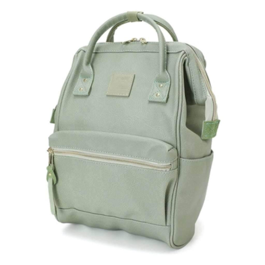 สอนใช้งาน  ชัยภูมิ Anello PU Leather สีเขียวพาสเทล ของแท้ กระเป๋าเป้สะพายหลังรุ่นหนังนิ่ม ไซส์มินิ กว้าง 23x สูง 36x หนา17cm