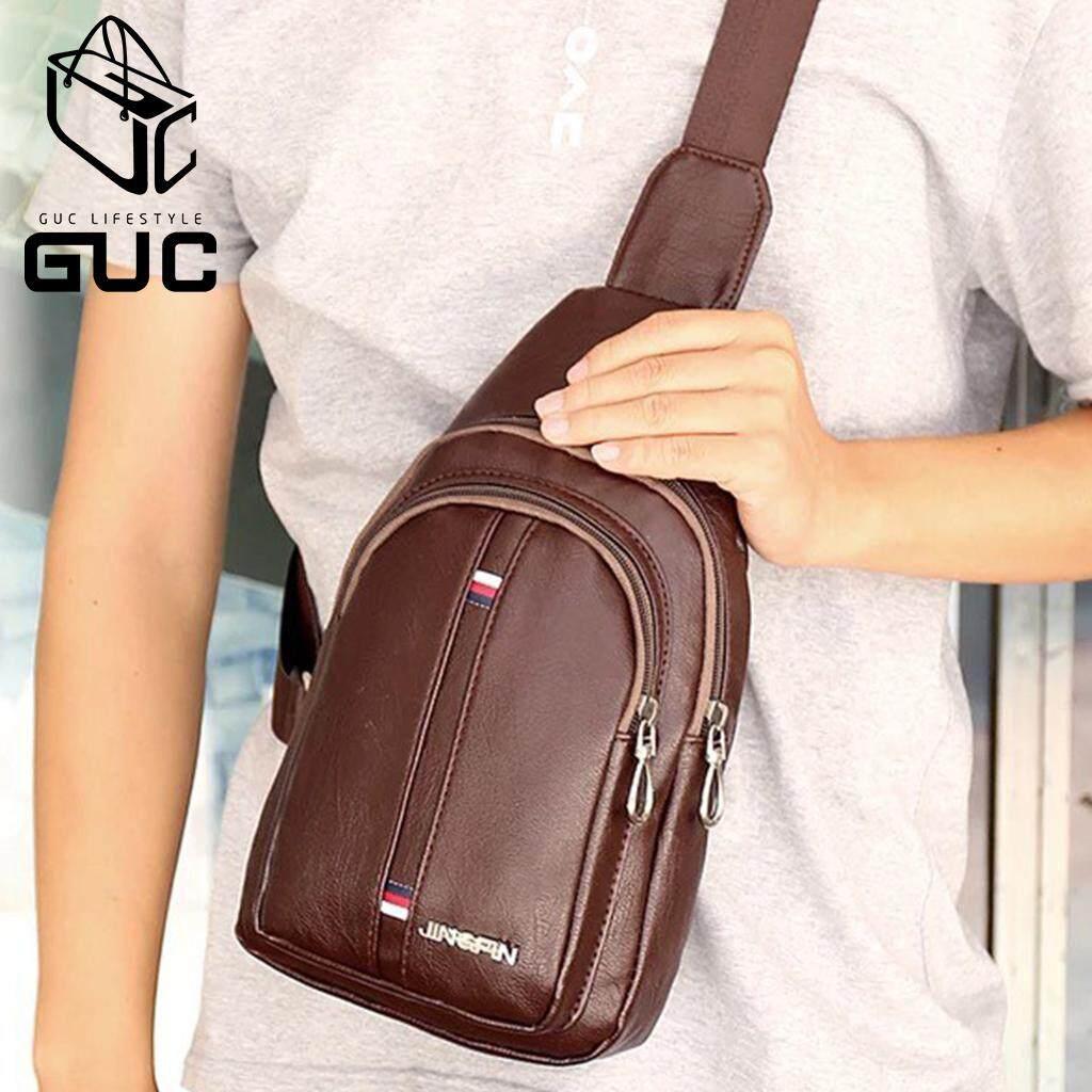 กระเป๋าถือ นักเรียน ผู้หญิง วัยรุ่น ขอนแก่น GUC SELECTEDกระเป๋าคาดอกหนังเงาแถบสีบนล่างเท่สุดๆ B947