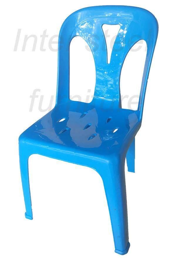 เช่าเก้าอี้ เชียงใหม่ Inter Steel เก้าอี้พลาสติก เกรดA มีพนักพิง รุ่นหลังY - สีฟ้า Plastic chair  Grade A  with backrest  Y-Blue