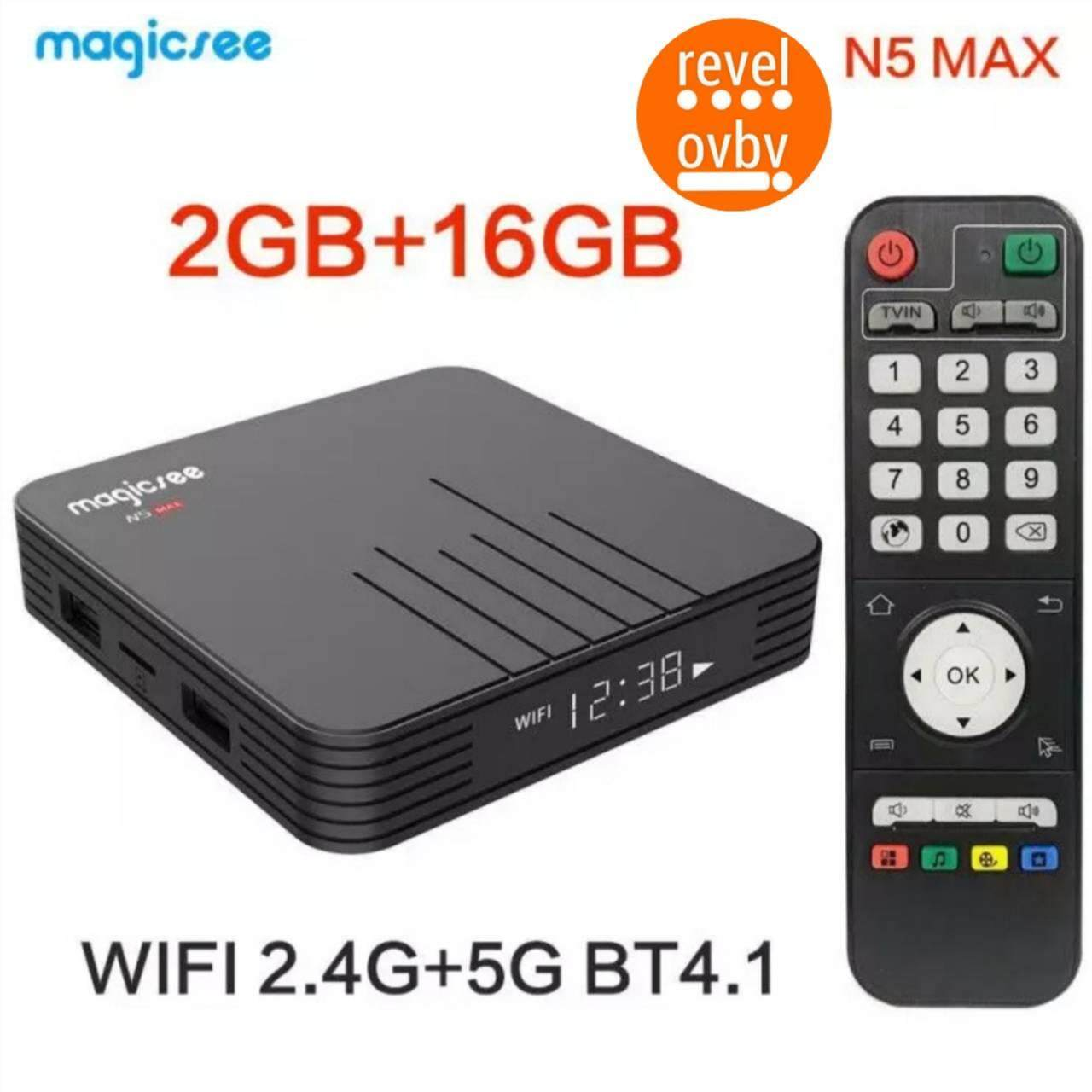 สอนใช้งาน  อุบลราชธานี Magicsee N5 Max Amlogic S905X2 Android 9.0 TV BOX 4G 32G/64G Rom 2.4+5G Dual Wifi Bluetooth4.1 Smart Box 4K LAN 1000 Set Top Box
