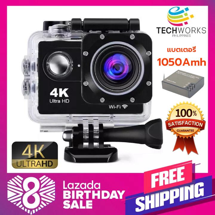 กล้องติดหมวก (แบตเตอรี่1050mah) กล้องแอคชันแคม ถ่ายใต้น้ำ HD 4K Wireless กล้องกันน้ำ Action Camera กล้องแอ็คชั่น กันน้ำ