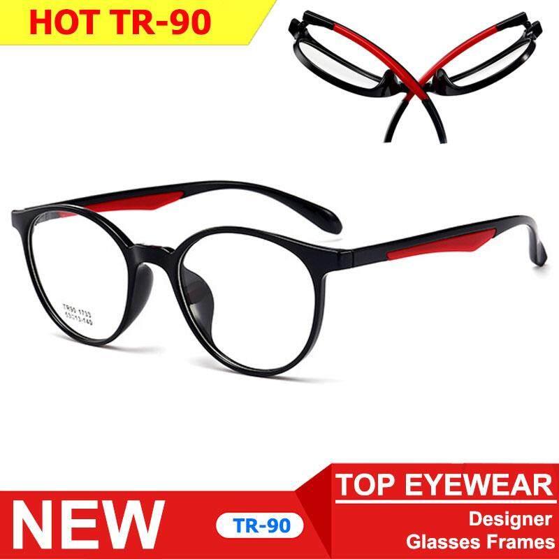 Korea แว่นตา รุ่น 1733 C-1 สีดำเงาขาแดง กรอบแว่นตา กรอบเต็ม Round ทรงกลม ขาข้อต่อ วัสดุ ทีอาร์-90 (สำหรับตัดเลนส์) สวมใส่สบาย น้ำหนักเบา ไม่ตกเทรนด์ Full frame Eyeglass Leg joints TR-90 material Eyewear Top Glasses