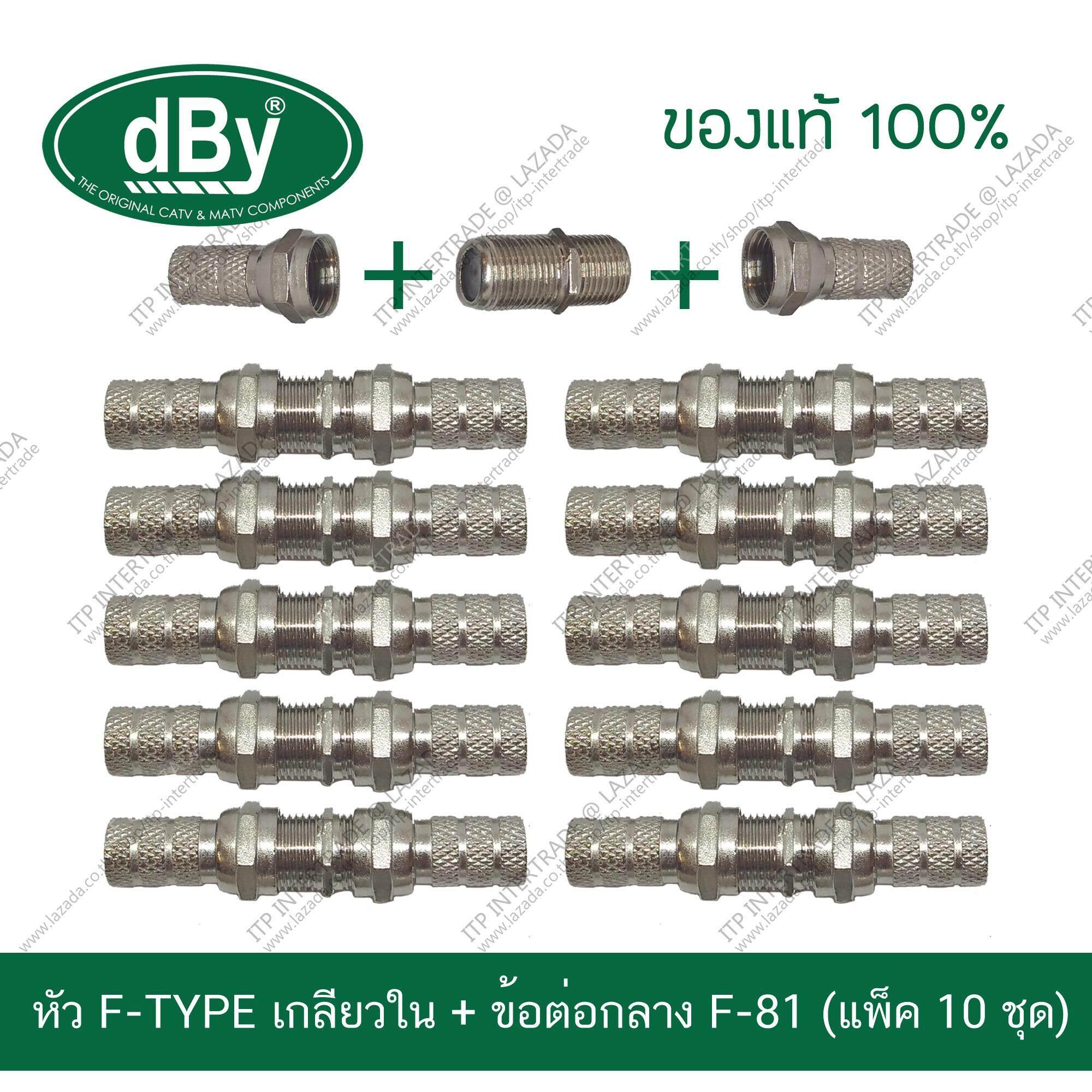 [แพ็ค10ชุด] dBy Connector ชุดหัว F-TYPE แบบหมุนเกลียวใน + ข้อต่อกลาง F-81 แบ่งขาย (ส่ง kerry ฟรี)