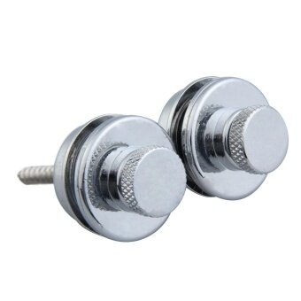 2Pcs Electric Guitar Bass Safety Straplock Strap Locks Flat Head(Silver) - intl
