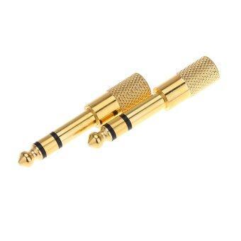 เสียงของแจ็คคู่แจ็คเสียบปลั๊กอะแดปเตอร์เตาหลอมเหล็กสำหรับกีตาร์ไฟฟ้าไมโครโฟนหูฟัง6.35มมผู้ชาย 3.5มมผู้หญิง
