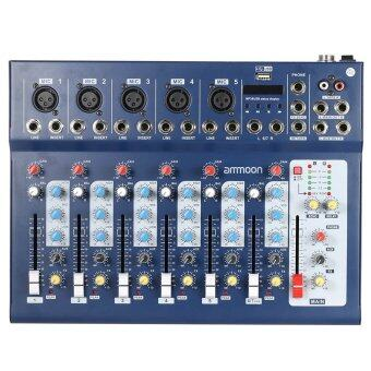 ammoon F7-USB 7-Channel Digtal Mic Line Audio Sound Mixer MixingConsole with USB Input 48V Phantom Power 3 Bands Equalizer forRecording DJ Stage Karaoke Music Appreciation