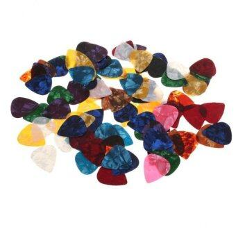 BolehDeals 100pcs Celluloid Guitar Bass Picks Pic Plectrum 0.71mmThickness in Pick Box - intl
