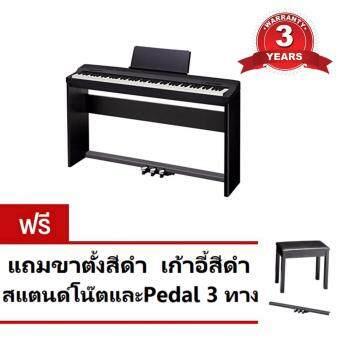 Casio เปียโนไฟฟ้า 88 คีย์ รุ่น PX-160 BK พร้อมขาตั้ง เก้าอี้ หูฟังและเพเดิ้้ล SP-33C2 (Black)