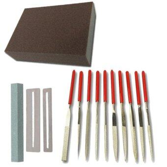 Guitar Repair Kit Flat Diamond Grit File Set -Including Frets NutFile Tool,Ukelele Bass Grinding Stone, FingerboardProtector,Grinding Sponge and 10 Pack Stainless Steel Files Luthier- intl