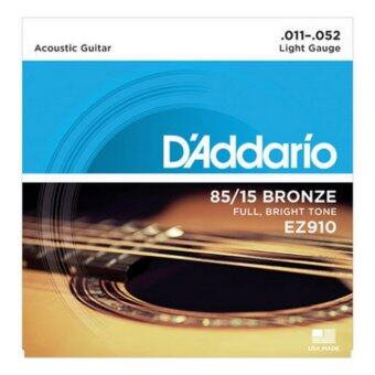 D'Addario สายชุดกีตาร์โปร่ง 85/15 Bronze Light No.0.11-0.52 LIGHT GRUGE รุ่น EZ910