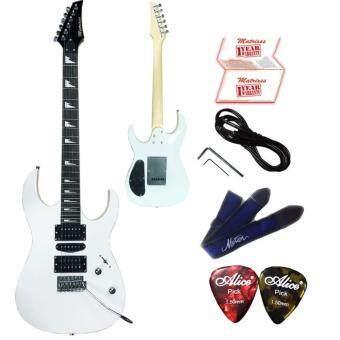 Matrixss กีตาร์ไฟฟ้า Electric Guitar รุ่น ME212WH+สายสะพายกีตาร์+สายแจ็คกีตาร์+ที่ขันคอกีตาร์+ปิ๊ก*2+ใบรับประกัน