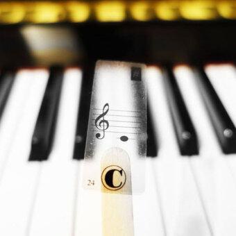 คีย์บอร์ดเปียโนคีย์บอร์ดไฟฟ้า 88Keys สติ๊กเกอร์สติ๊กเกอร์ฉลากหมายเหตุเรียนรู้ดนตรี