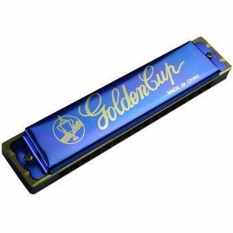 Golden Cup ฮาร์โมนิก้า 16 ช่อง แบบ 2 แถว คีย์ C รุ่น JH016-1BL - สีน้ำเงิน (Harmonica Key C)
