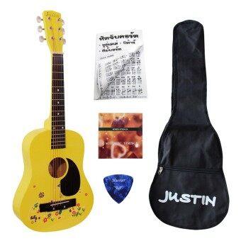 Justin กีต้าร์โปร่ง เล็ก 30 นิ้ว (สีเหลือง) พร้อมสายกีต้าร์+กระเป๋ากีต้าร์+คู่มือตารางคอร์ด+ปิค