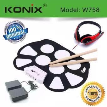 Konix กลองไฟฟ้าพับได้ Roll Up Electric Drum Kit + หูฟัง